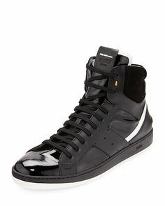 d6a71c5f55ba Fendi Mens Mixed-Leather High-Top Sneaker