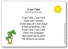 Comptine « C'est l'été » (sur l'air de Vive le vent) - jenseigne.fr Summer Poems, Kindergarten Behavior, French Poems, Circle Time Songs, Core French, Info Board, Kids Poems, French Resources, French Tips