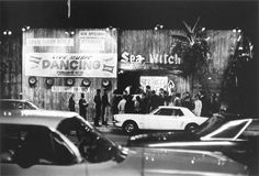 Sea Witch nightclub, Sunset Strip by julian wasser. 1966. vintage. los angeles. hollywood. black and white photo. 1960s.