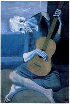 The Old Guitarist is an oil painting by Pablo Picasso created in 1903. Saw it in the Chicago Art institute. ✔
