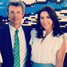 Crown Prince Frederik and Crown Princess Mary today at the Danish Pavillon in…