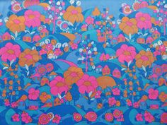 Vintage 60s 70s Psychedelic Pink Blue Floral House Retro Fabric Material | eBay