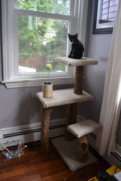 Perfect kitty tower made with wood for scratching...