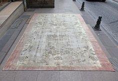 """CREAM Overdyed Oushak Rug - 7'2"""" x 10'3"""" - 1940s Anatolian Handwoven Overdyed Decorative Vintage Carpet"""
