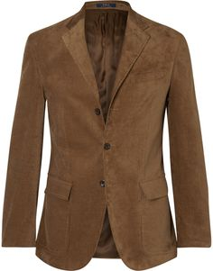 $795, Brown Suede Blazer: Polo Ralph Lauren Harvard Slim Fit Suede Panelled Corduroy Blazer. Sold by MR PORTER. Click for more info: https://lookastic.com/men/shop_items/334273/redirect