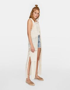 Gilet in crochet - The Summer Expedition Crochet Waistcoat, Look Boho, Knitwear, Ideias Fashion, Summer, Jackets, Outfits, Shopping, Zapatos