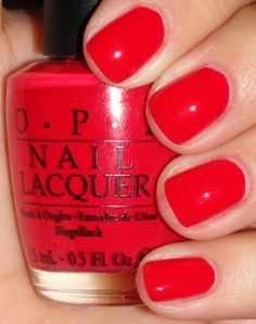 OPI: Girls Just Want to Play One of my fav colors Opi Gel Nails, Opi Nail Colors, Rose Nails, Pink Nails, Opi Red Nail Polish, Bright Red Nails, Red Orange Nails, Red Acrylic Nails, Nagellack Trends