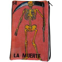 "LA MUERTE ""Death"" Mexican Loteria Makeup Bag ($15) ❤ liked on Polyvore featuring beauty products, beauty accessories, bags & cases, bags, fillers, purses, clutches, other, toiletry kits and travel bag"