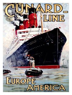 Image detail for -Cunard Line, Aquitania Vintage Cruise Ship Ad Poster
