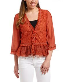 Another great find on #zulily! Rust Lace Button Linen-Blend Bolero by Pretty Angel #zulilyfinds