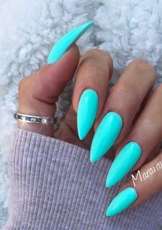 New gel manicure colors tiffany blue nail design Ideas Acrylic Nails Natural, Blue Acrylic Nails, Blue Stiletto Nails, Acrylic Colors, Bright Summer Acrylic Nails, Summer Nail Polish, Blue Nail Polish, Spring Nails, Polish Nails
