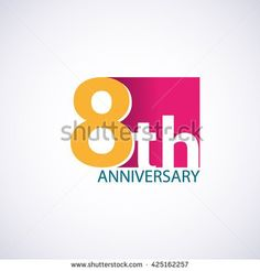 Template Logo 8th anniversary. 8 years anniversary red colored vector design - stock vector