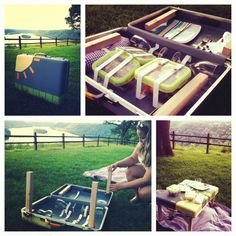 My boyfriend transformed an old suitcase into a travel picnic table! Best birthday present ever and years of fun outdoor dates to come :)