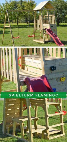 Spielturm Kinder Garten: Ausgestattet mit einer Rutsche, einer Doppelschaukel und einer Kletterwand ist beim Spielturm Flamingo jede Menge Spaß garantiert. Erfahren Sie mehr zum Produkt! #Spielzeug #Kinderspielhaus #Spielturm Home And Garden, Climbing Wall, Children Garden, Games