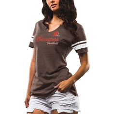 Cleveland Browns Majestic Women's Game Tradition Tri-Blend V-Neck T-Shirt - Brown - $29.99