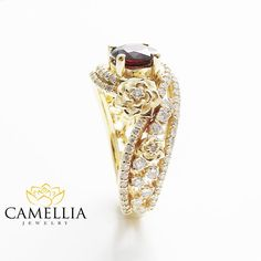 Round Red Tourmaline Engagement Ring 14K Yellow by CamelliaJewelry