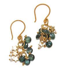 Thai Sapphire Earrings Gold Vermeil Star Keshi Pearl by FizzCandy, $60.00