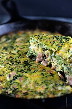 Ham and Spinach Frittata - Perfect for brunch or supper! So delicious and simple to make! ©addapinch.com
