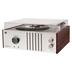 Crosley Player Turntable and AM/FM Radio - Silver/Brown (CR6017A-MA)