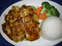 Chicken Teriyaki :Served with rice and steamed vegetables. #chicken #vegetables #Awesome Thai #Food forked.com