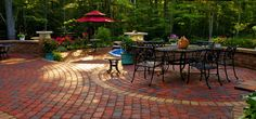 red paver patio | Entry Walkways and Foyers Backyard Entrances Paver & Stone Patios Wood ...