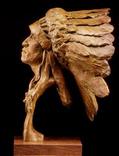 Bear Ghost: Native American Indian Western art bronze sculpture of indian chief by artist Barry Eisenach