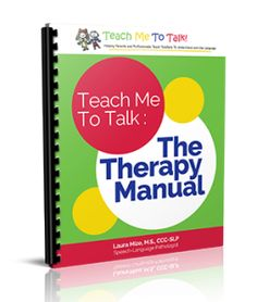 Teach Me To Talk:  The Therapy Manual is the go-to resource for speech therapy for toddlers. Pediatric speech-language pathologists RAVE about this manual in courses and follow-up emails! This best-selling therapy manual is essential for any speech-language pathologist, developmental therapist, early intervention specialist or other EI professional who treats toddlers with communication delays and disorders. Although not …