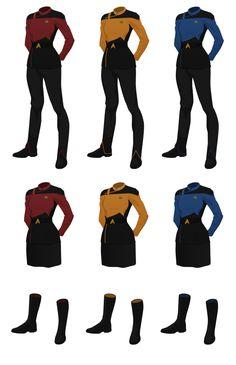 Standard class A uniform for females, either pants or skirt options. Class A Starfleet Uniform, (female) Star Trek 2009, Star Trek Kostüm, Star Trek Bridge, Star Trek Crew, Star Trek Enterprise, Star Trek Voyager, Star Trek Online, Star Trek Beyond, Star Trek Outfits
