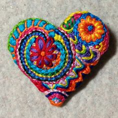 Freeform embroidery heart brooch bright floral  brooch49