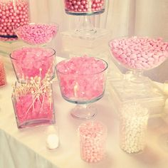 Our all-pink candy bar in NYC. (We want to see your candy pics, too!) Our all-pink candy bar in NYC. (We want to see your candy pics, too! Sweet 16 Parties, Pink Parties, White Candy Bars, Bar A Bonbon, Candy Bar Wedding, Wedding Favors, Candy Table, Pink Candy Buffet, Lolly Buffet