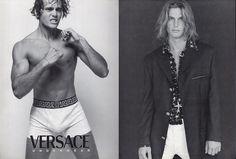 Jason Shaw par Bruce Weber pour la campagne Gianni Versace Uomo: couture, beachwear, jeans printemps-été 1996