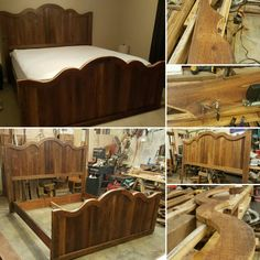 King size bed that I handcrafted out of reclaimed antique heart pine siding that I reclaimed off of an old abandoned home near mine!