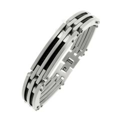 Men's Stainless Steel Cable Bracelet with Black Ion-Plated Amazon Curated Collection. $21.00. Made in China. Stainless steel construction offers lasting shine.. Save 79%!