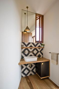 Bluff House Powder room - Contemporary - Powder Room - melbourne - by Auhaus Architecture Bathroom Renos, Laundry In Bathroom, Bathroom Interior, Modern Bathroom, Small Bathroom, Bathroom Ideas, Downstairs Toilet, Deco Design, Tile Design
