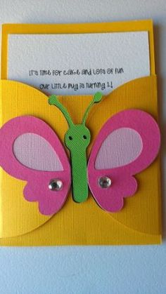 Bug, Garden party theme pocket invitation Pick your colors, pick your bugs or theme is part of garden Party Activities - Candy tags ~Place cards All items are made by hand in a smoke and pet free home Garden Party Theme, Happy Birthday Banners, Birthday Cards, Preschool Art Activities, Party Activities, Pocket Invitation, School Decorations, Kids Cards, Cardmaking