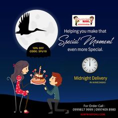 Birthdays are best wished when done on time and with a delicious #cake...just completes everything. Just give us a ring on 0999817 9999 | 0997409 8980  10% OFF Code: SFU10 #MidnightDelivery #BirthdayCake #SurpriseForU #Ahmedabad
