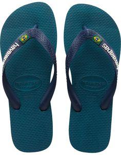 Havaianas Mens Brasil Logo Flip Flops Petroleum