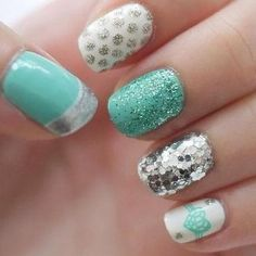 Latest easy simple nail designs for short nails to make at home.DIY striped nails,dotted nail art,french manicure for short nails,floral nail Cute Nail Art, Cute Nails, Pretty Nails, Blue And Silver Nails, Blue Nail, Teal Nails, Green Nails, Silver Glitter, White Nail