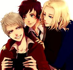 Tags: Axis Powers: Hetalia, France, Prussia, Spain, Bad Trio, Allied Forces, Mediterranean Countries