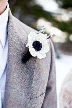 Anemone Boutonniere - Winter Wedding Inspiration from J. Anemone Bouquet, Boutonnieres, Winter Boutonniere, Anemones, Wedding Men, Wedding Suits, Dream Wedding, Wedding Ideas, Bouquets