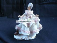 Vintage Crown Dreseden Lace Collectible Figurine Lady With Dog