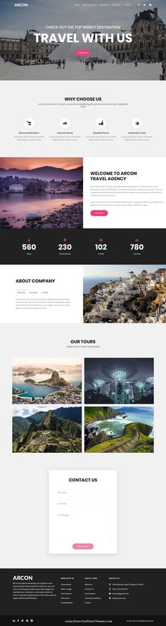 Arcon Studio is clean and modern design responsive HTML5 bootstrap template for multipurpose marketing landing page website with 18+ niche homepage layouts to live preview & download click on Visit #tour #travel #websitedesign