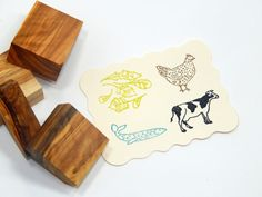 Choice of 6 Varied Menu Olive Wood Stamps by ahueofduckeggblue
