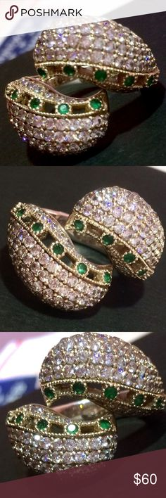 """RARE Round Diamond Cut White Topazes Emerald Ring MODERN Style of Turkish sterling silver .925 w/bronze ring. Extremely Sparkling Genuine Natural Gemstones: Green Emeralds, Round Diamond Cut White Topazes. Ottoman Design handmade artisan """"Seashell Shaped"""" ring from Europe. Size 8 1/2. Turkish Style Jewelry Rings"""