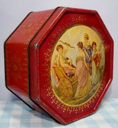 Vintage old tin container oud blik altes Blech brocante antique. 8,95 (worldwide shipping). Mies & Mas Vintage Toys & Kitchenware.
