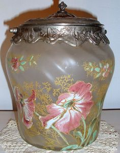 2709 SEAU A BISCUIT POT EN VERRE EMAILLE ART NOUVEAU RICHE DECOR FLORAL LEGRAS