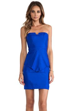 Suboo Origami Strapless Dress in Blue