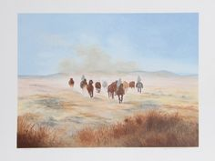 Bringing in the Herd   Bringing in the Herd Lithograph by the American artist Gwendolyn Branstetter, circa 1980, shows two men on horseback leading a pack of horses.  Edition: 200, AP 25  http://www.finelifeart.com/bringing-in-the-herd/