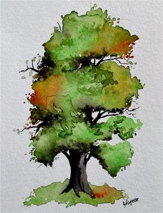 """Daily Paintworks - """"Original Watercolor Painting- A Very Nice Tree"""" - Original Fine Art for Sale - © James Lagasse"""