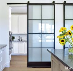 gorgeous barn door with modern hardware is located in a kitchen.  The frosted glass lets in light but gives privacy to the utility kitchen